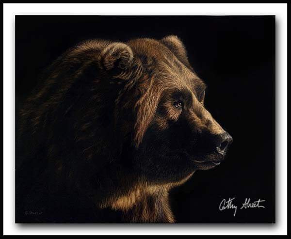 Bruiser - Scratchboard and Ink Grizzly Bear