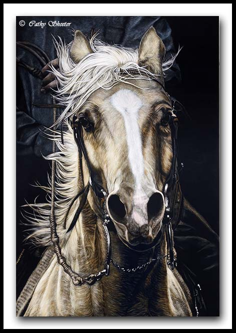 Comin At Ya - Scratchboard and Ink Quarter Horse
