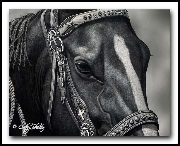 'Dressed For Success' -Horse Scratchboard Art