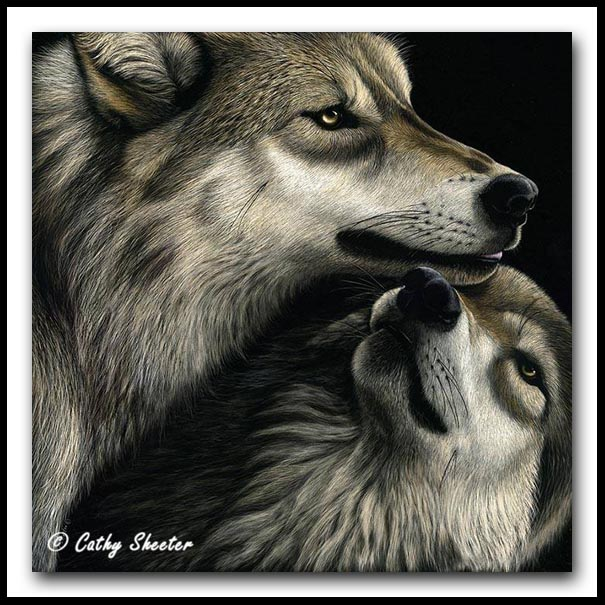 Family Reunion-Scratchboard and Ink Gray Wolves