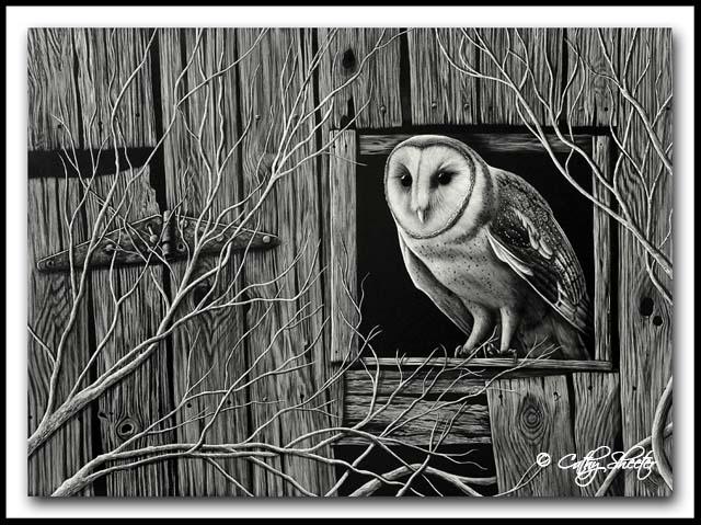 Inkeeper - Scratchboard Owl