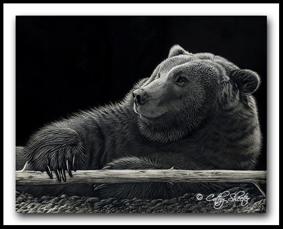 Grizzly Bear - Scratchboard Art
