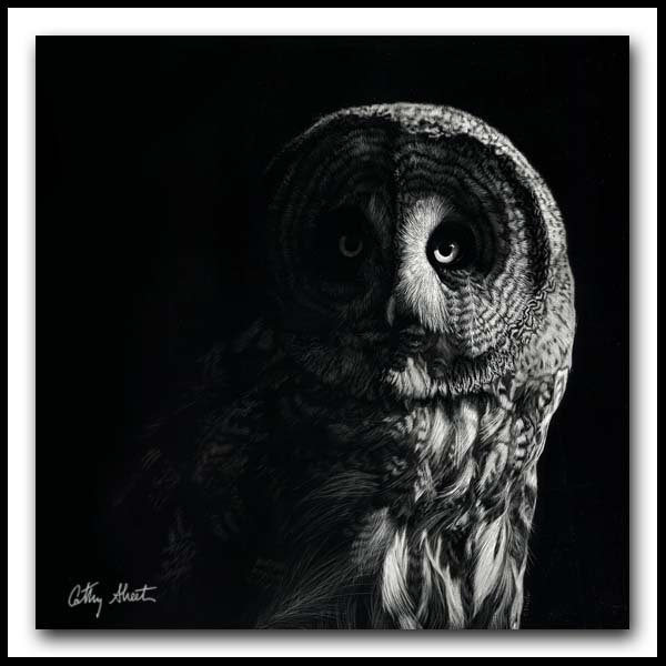The Night Watchman - Great Gray Owl Scratchboard
