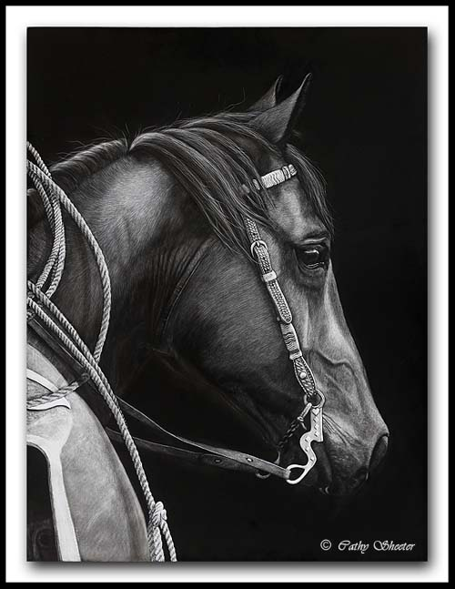 On The Job -Quarter Horse - Scratchboard Art