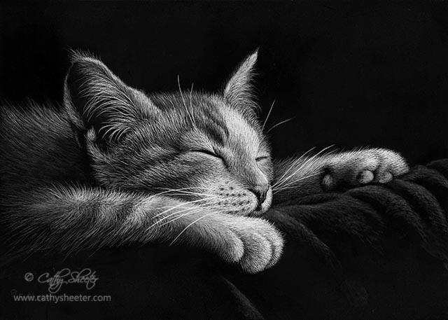 Sleepy Time - Scratchboard