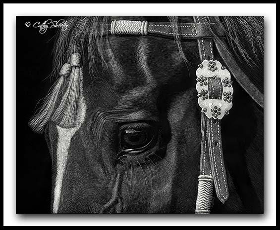 Tassels - Scratchboard Quarter Horse