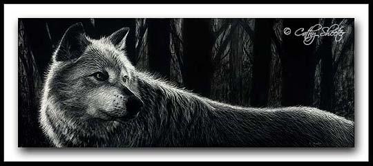 Vigilant- Scratchboard Wolf