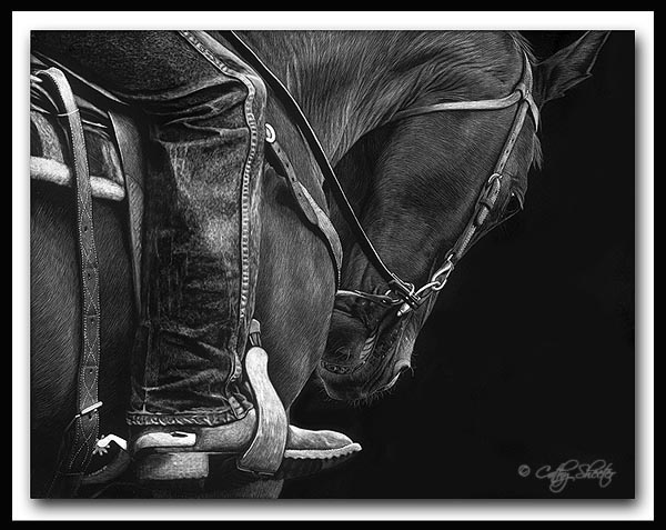 Yielding; scratchboard art by Cathy Sheeter;  quarter horse